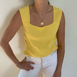 90s yellow square neck tank 💛